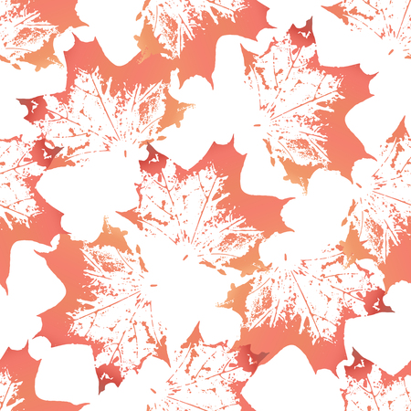 imprints: Red maple leaves imprints seamless pattern on white background