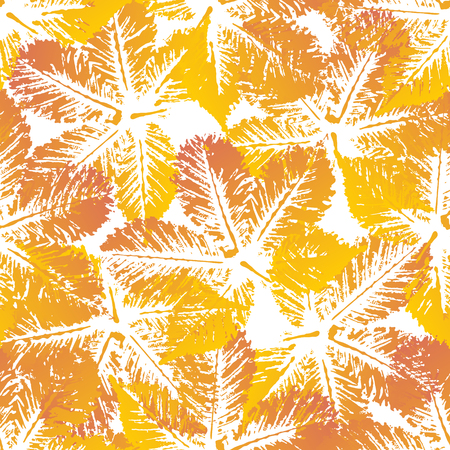 chestnut: Yellow orange chestnut leaves imprints seamless pattern on white background