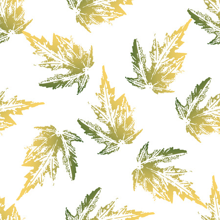 Yellow green maple leaves imprints seamless pattern on white background
