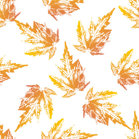 imprints: Yellow orange maple leaves imprints seamless pattern on white background