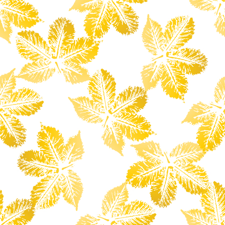imprints: Yellow chestnut leaves imprints seamless pattern on white background