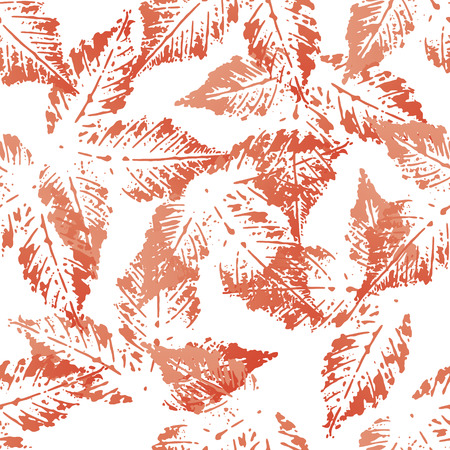 leafage: Red chestnut leaves imprints seamless pattern on white background