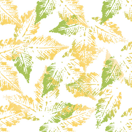 imprints: Yellow green chestnut leaves imprints seamless pattern on white background Illustration