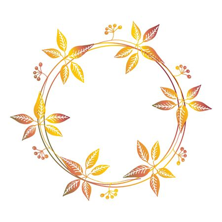 context: Hand drawn autumn floral wreath with space to your text on white background Illustration