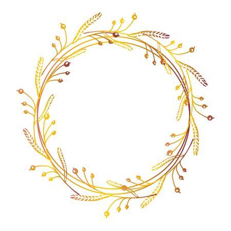 Main automne dessiné floral couronne avec un espace pour votre texte sur fond blanc Vecteurs