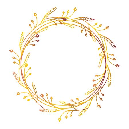 Hand drawn autumn floral wreath with space to your text on white background Illustration