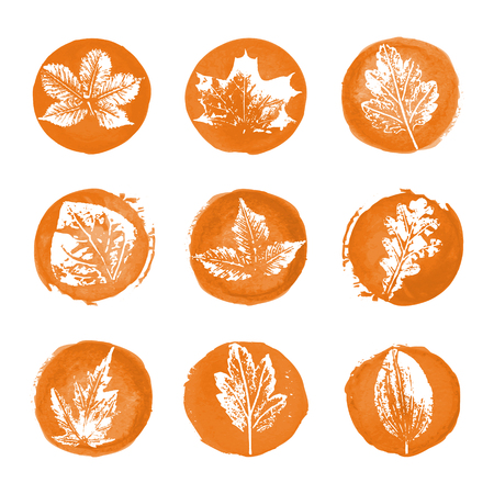 Collection of white leaves imprints icons on orange watercolor round backgrounds