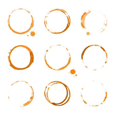 mandarins: Collection of orange watercolor round stains and blots on white background