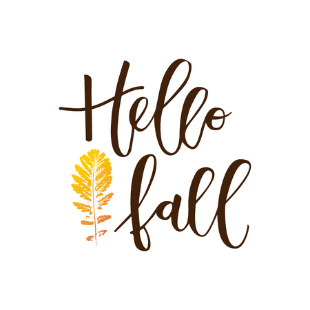 frondage: Hello fall hand written inscription with orange leaf on white background
