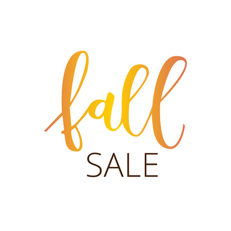 Fall sale white hand written inscription isolated on white background