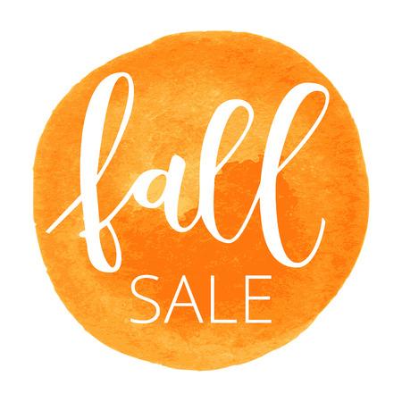 Fall sale white hand written inscription on orange round watercolor background Illustration