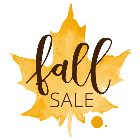Fall sale white hand written inscription with orange watercolor maple leaf on white background Illustration