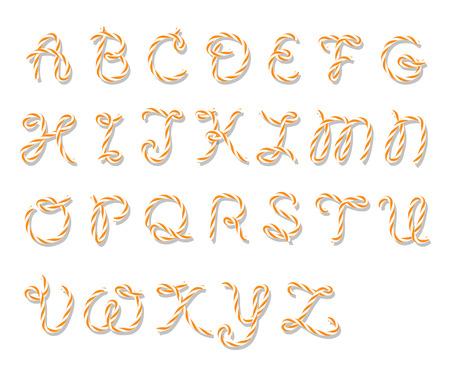 mandarins: Illustration of capital letters alphabet in orange bakers twine style on white background Illustration