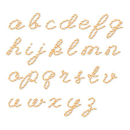 twine: Alphabet in orange bakers twine style on white background