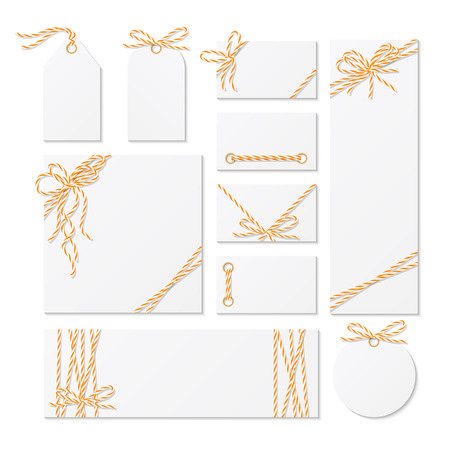 twine: Set of cards, tags and labels tied up with orange bakers twine bows and ribbons