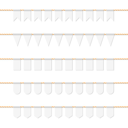 Collection of white bunting banners on orange bakers twine