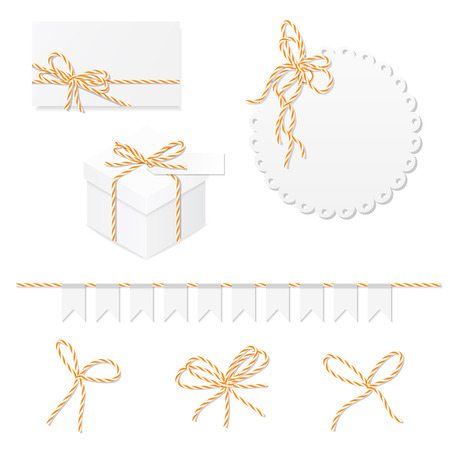 twine: Celebration set of card, box, label, banner and orange bakers twine bows
