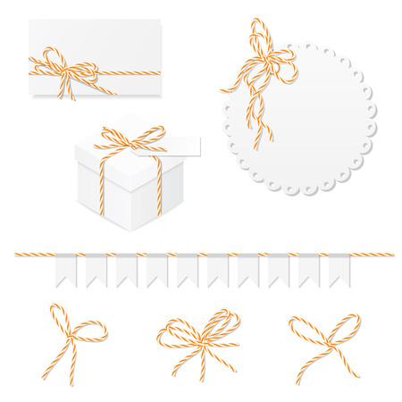 mandarins: Celebration set of card, box, label, banner and orange bakers twine bows