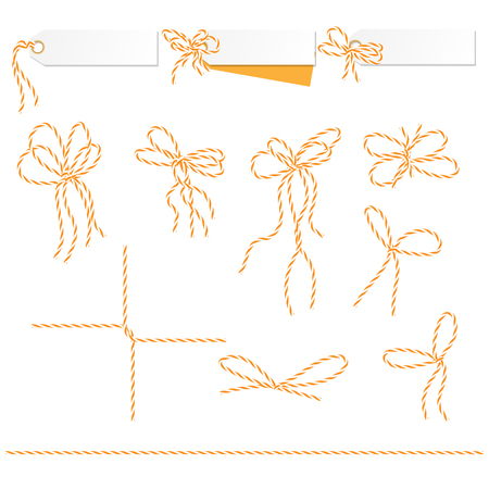 twine: Set of tags and labels tied up with orange bakers twine bows and ribbons