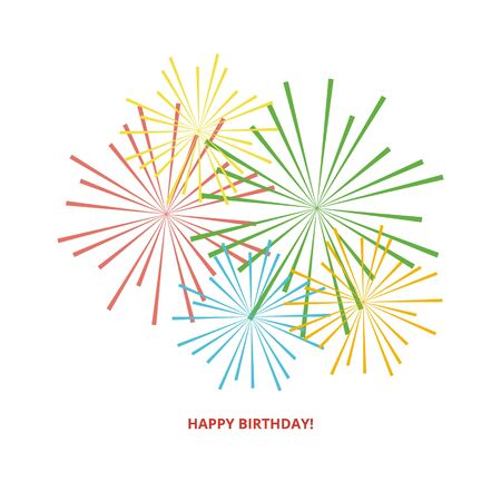 banger: Happy birthday greeting card with fireworks in flat style