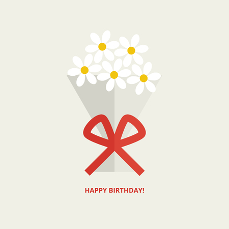 Happy birthday greeting card with bouquet of flowers tied up with red ribbon in flat style Illustration