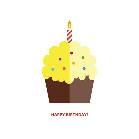 Happy birthday greeting card with cake and candle in flat style