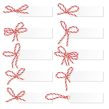 ruddy: Set of tag labels with red rope bakers twine bows on white background Illustration