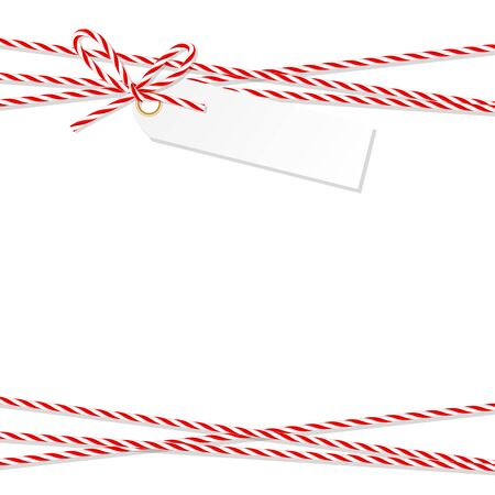 lashing: Abstract white background with tag label tied up with red rope bakers twine bow and ribbons