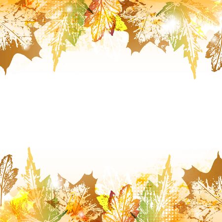 frondage: Abstract autumn leaves imprints background with space to your text