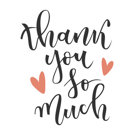 Thank you so much hand lettering greeting with red hearts on white background