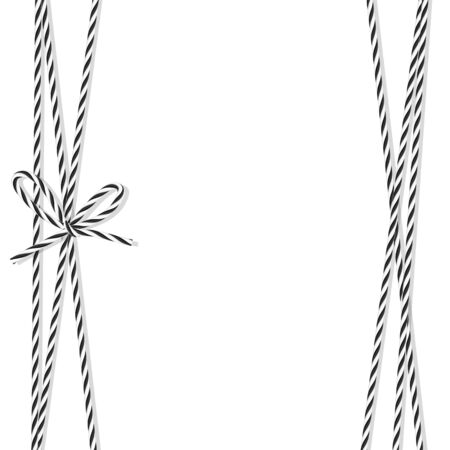ebon: Abstract black rope bakers twine bow and ribbons Illustration