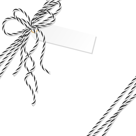 docket: Abstract tag label tied up with black rope bakers twine bow and ribbons