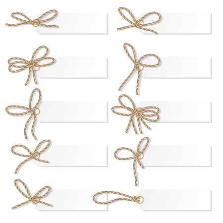 twine: Set of tag labels with rope bakers twine bows Illustration