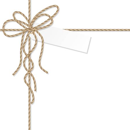 Abstract tag label tied up with rope bakers twine bow and ribbons Çizim