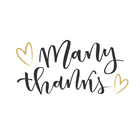 many thanks: Thank you hand lettering greeting with gold hearts on white background