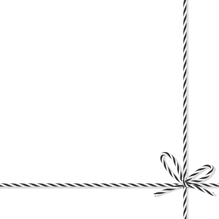 sable: Abstract white background tied up with black rope bakers twine bow and ribbons