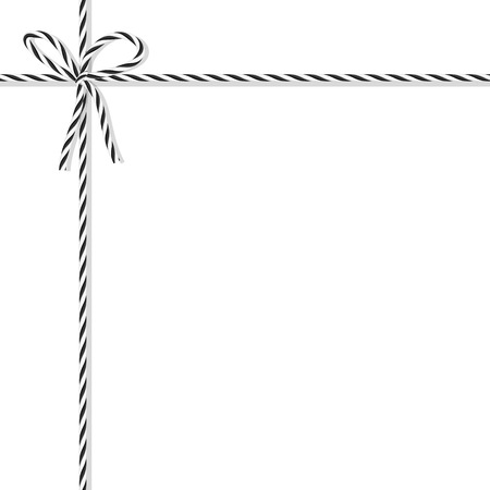 ebon: Abstract white background tied up with black rope bakers twine bow and ribbons