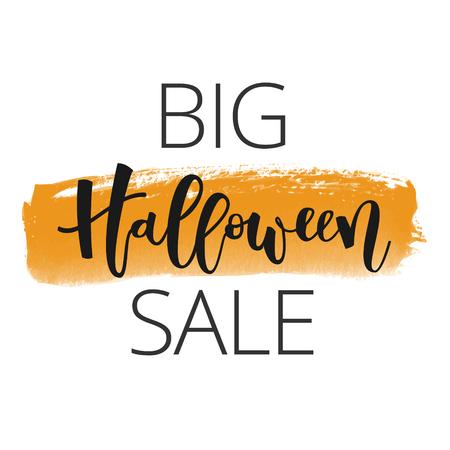 Halloween sale hand lettering inscription on orange banner watercolor background Illustration