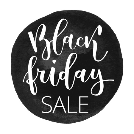 disposition: Black friday sale hand written inscription on grunge black round watercolor background
