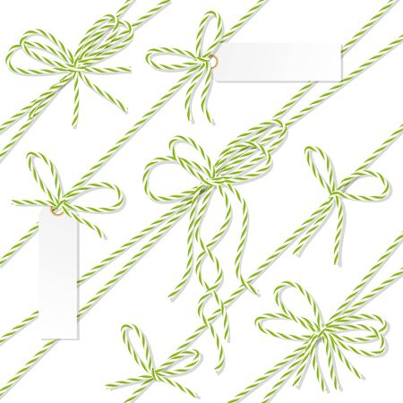 virid: Set of green rope bakers twine bows, ribbons and tag labels on white background Illustration