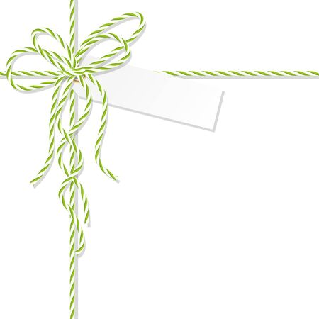 docket: Abstract white background with tag label tied up with green rope bakers twine bow and ribbons