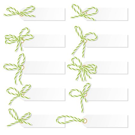 vealy: Set of tag labels with green rope bakers twine bows on white background Illustration