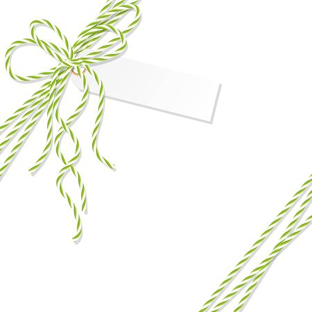 virid: Abstract white background with tag label tied up with green rope bakers twine bow and ribbons