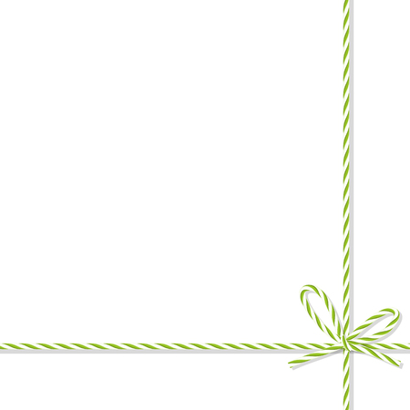virid: Abstract white background tied up with green rope bakers twine bow and ribbons Illustration