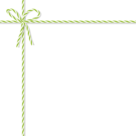 vealy: Abstract white background tied up with green rope bakers twine bow and ribbons Illustration