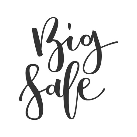 Big sale hand written inscription isolated on white background