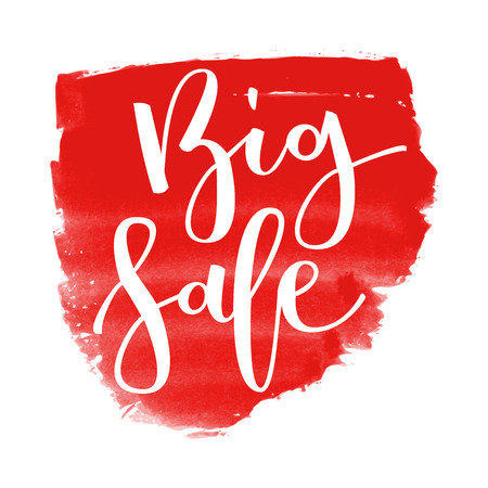Big sale hand written inscription on red watercolor banner background Illustration