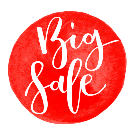 disposition: Big sale hand written inscription isolated on red round watercolor background