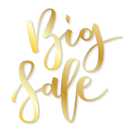 disposition: Big sale gold hand written inscription on white background