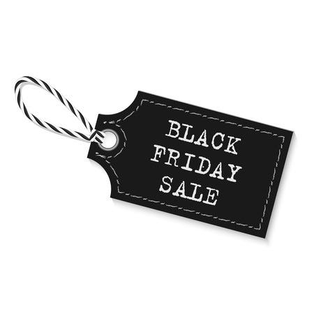 twine: Black friday sale label with bakers twine rope on white background
